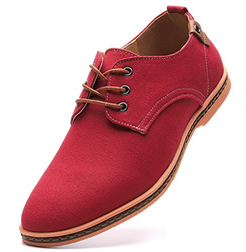 DADAWEN Men's Casual Canvas Oxfords Walking Shoes Sneakers Lace Up Dress Shoes Red US Size 6.5