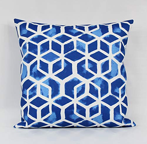 Toll2452 Blue Outdoor Pillow Cover Royal Blue Outdoor Cushion Cobalt Outdoor Pillows Blue White Pillow Accent Patio Sunroom Lumbar Zipper