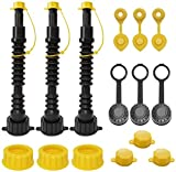 EONLION Gas Can Replacement Spout Kit, Flexible Pour Nozzle with Strainer and Gasket, Vent Caps, Stopper Caps, Collar Caps, Stripe Cap, Spout Kit for Water Jugs and Old Can, 3 Pack