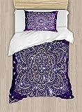 Juego de funda de edredón étnico, diseño floral, diseño de mandala redondo, estilo retro, 2 piezas, con 1 funda de almohada, tamaño individual, color azul