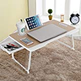 Baodan Laptop Bed Table with Storage, Foldable Laptop Desk Stand Breakfast Tray, Multifunction Lap...