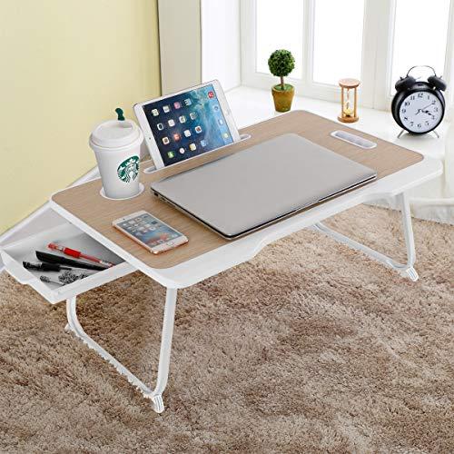 Baodan - Mesa de cama para ordenador portátil con almacenamiento, plegable, bandeja de desayuno, tableta multifunción con cajón para comer, estudiar en la cama/sofá/sofá/suelo-amarillo