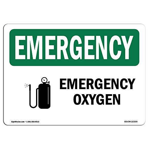 OSHA Emergency Sign - Oxygen | Rigid Plastic Sign | Protect Your Business, Construction Site, Warehouse & Shop Area | Made in The USA