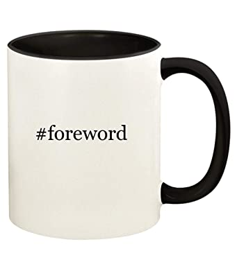 #foreword - 11oz Hashtag Ceramic Colored Handle and Inside Coffee Mug Cup, Black