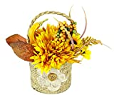 Flair Flower Arrangement aus künstlichen Chrysantheme und Sonnenblumen in Jute-Topf Kunstblume Kunstpflanze Deko Herbstdeko Herbstblumen Seidenblumen Gesteck Tischdeko Halloween Kürbis