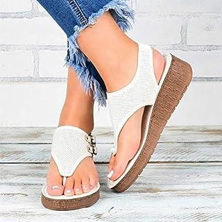 Women Casual Sandals Summer Slippers Non-slip Platform Wedges Slippers Female Beach Shoes Female Flip Flops Vintage comfortable slippers (Color : White, Shoe Size : 41)