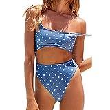 NINGNETI Bikinis Mujer 2019 Push Up BrasileñO Tallas Grandes Bañador para Mujer Escote Redondo Frente con Cordones Parte Posterior Corte Alto Monokini Traje de baño de una Pieza(Azul,L)