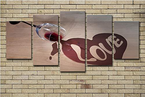 JKZHILOVE Cuadro en Lienzo Amor Copa de Vino Tinto Impresión de 5 Piezas Material Impresión Artística Imagen Gráfica Decoracion de Pared para Tu Salón o Dormitorio con Marco 150 x 80 cm