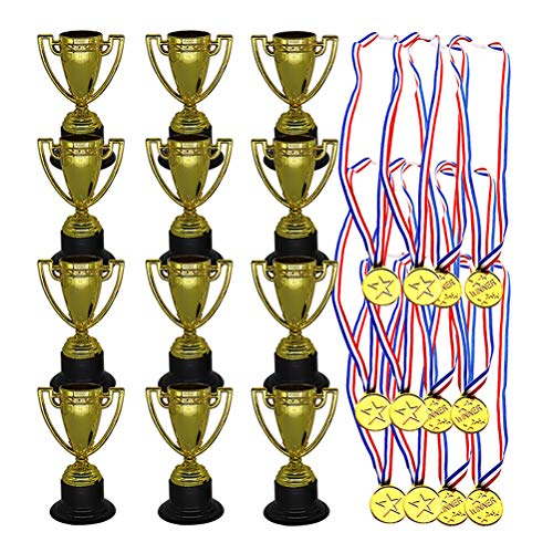 Toyvian Set de medallas de Oro del Trofeo de plástico - 12 Piezas Medallas de Ganador más 12 Piezas de trofeos para Deportes, concursos, celebración y favores de la Fiesta