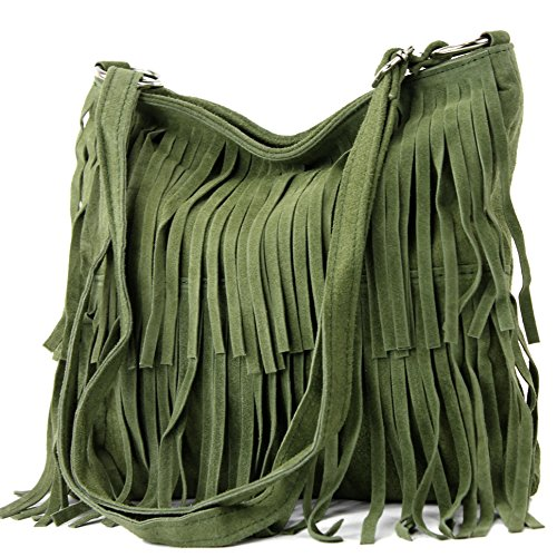 modamoda de - T125 - ital Schultertasche Fransen Wildleder, Farbe:Olivgrün