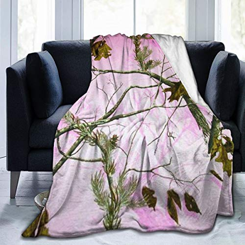 Befectar Flannel Throw Blanket Twin/Throw/Queen Size Fuzzy Cozy for Adults Kids Pink Realtree Camo