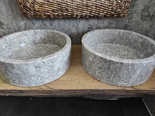 Par de fregaderos de mármol fósile gris Shell de alta calidad diámetro 45 cm fotos reales del lavabo lavabo de baño fregadero baño de apoyo
