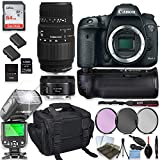 Canon EOS 7D Mark II DSLR Camera with Sigma 70-300mm Lens and Canon EF 50mm Lens + 64GB Sandisk Memory + Camera Case + 2 Batteries + Power Battery Grip with Professional Accessory Bundle (15 Items)