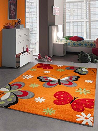 Bambini Tappeto REGAZZA Farfalla Arancio Größe 80x150 cm