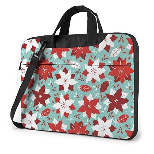 Red White Florals Laptop Bag Compatible Laptop MacBook Pro Carrying Shoulder Handbag Briefcase With Strap,