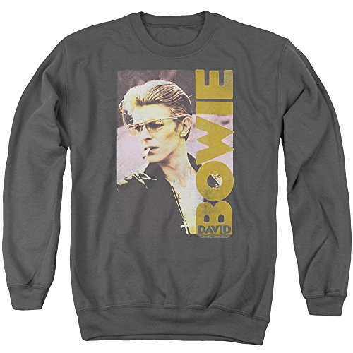 David Bowie Smokin Unisex Adult Crewneck Sweatshirt for Men and Women, Large Charcoal