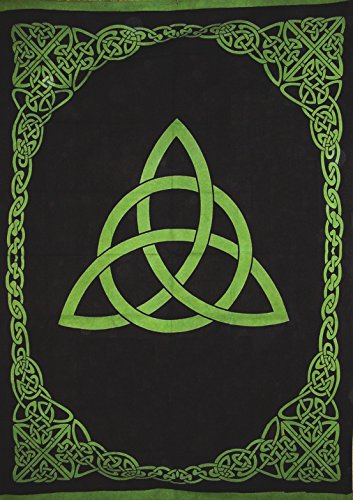 India Arts Celtic Trinity Knot Tapestry Heavy Cotton Spread 98' x 70' Twin Green