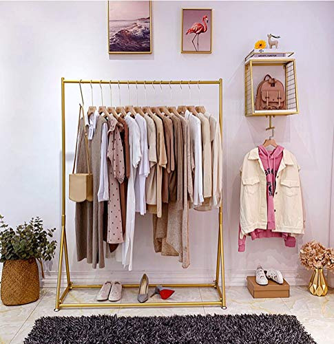 """Heavy Duty Clothes Racks for Hanging Clothes Freestanding Clothing Rack Retail Display Metal Garment Hanger Rack for Storage Gold 59"""""""