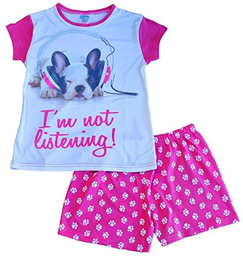 Schlafanzug für Mädchen, kurz, französische Bulldogge, Aufschrift