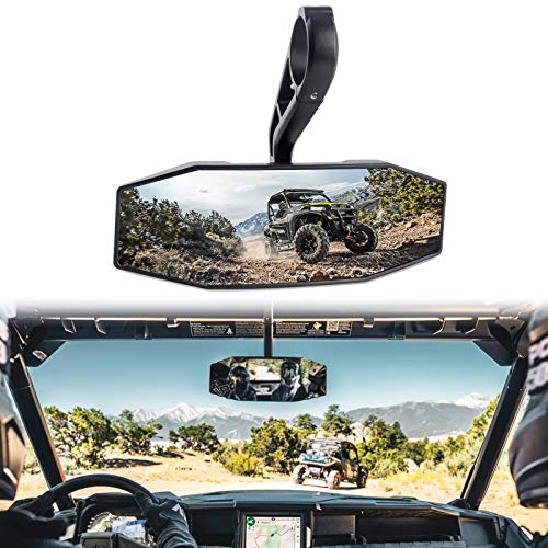 "CALBEAU Rear View Center Mirror 1.75"" Clamp, 2020 Upgraded UTV Mirror with ShatterProof Tempered Glass Compatible with Polaris RZR 800 1000 S 900 for all 2015-2018 Arctic Cat Wildcat Sport"
