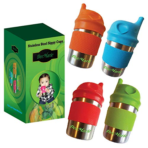 DeeMarie Stainless Steel Sippy Cups, with Silicone Lids and Grip Sleeves for Toddlers Baby Kids - US Lab Tested BPA Free - No Spill -Leak Proof Bottle -Healthy Eco Friendly- (8oz 4Cup Bundle)