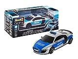 Revell Control 24657 RC Scale Car 1:24 Audi R8 Polizei, 27 MHz-Fernsteuerung, originalgetreue Karosserie, Fahrlicht ferngesteuertes Auto, Silber/blau