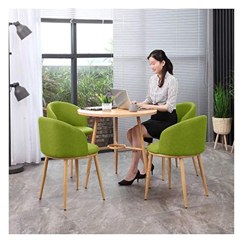 DYYD Dining Table and Chair Set of 5 Reception Leisure Tables and Chairs Office Lounge Meeting Room Coffee Table and Chair Combination 80cm Simple Round Table Living Room Kitchen Dining Room