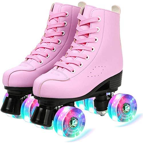 Rollschuhe Doppelzeile 4 Gummiräder Schlittschuhe Klassische Leder High-Top Roller Skates Indoor Outdoor-Erwachsene Rollschuhe für Frauen Mann,Pink Flash,39