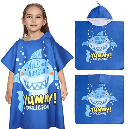 Tacobear Toalla de Playa Secado Rápido para Infantiles Albornoz de Playa con Capucha Dibujos Animados Capa Poncho de Playa Ducha Piscina para Niños Niñas(Azul-tiburón)