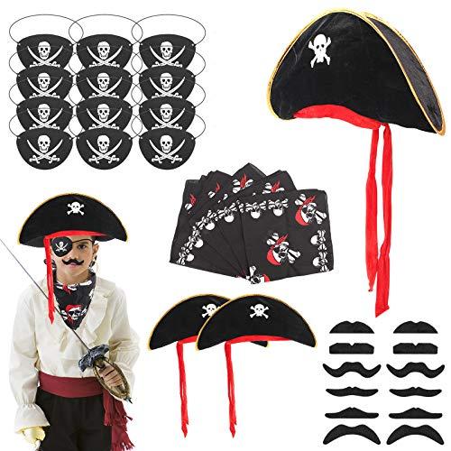 Ulikey 26 Pcs Piraten Zubehör Set, Piraten Party Set, Piratenhut, Piraten Augenklappe, Piraten Kopftuch, Schnurrbart, Piraten Zubehör Set Kinder für Halloween, Partys Weihnachten, Piraten-Cosplay