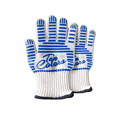 Hittebestendige handschoenen van hoge kwaliteit, antislip, perfect voor de keuken, voor het koken van mee-eters in de oven – professionele grill, handgreep voor potholder – 1 paar. Wit