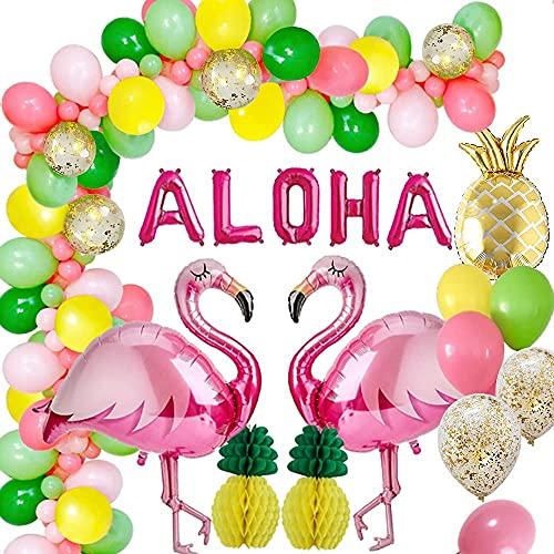 AcnA Decoracion Hawaiana Fiesta, Hawaiana Tropical Fiesta Decoración Aloha Pancarta Hawaiano Cumpleaños Globos Verano con Flamenco de piña Globos para Luau Fiesta hawaiana Decoraciones de la Selva