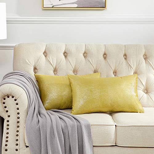 OMMATO Funda de Cojín 30x50 cm Decorativa Impresión de Plateado Almohada Cojines de Fundas para Sofá Silla Cama Sala de Estar Dormitorio 2 Juegos Amarillo