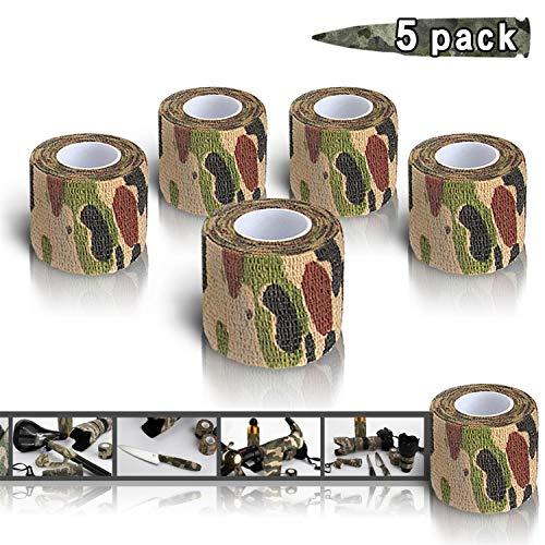 MHOYI selbstklebende Tarnung Band, Outdoor Tarnband selbsthaftend, Klammern für Schrotflinten Jagd-Camping, selbstklebende Schutz-Stretch-Verbandrolle, 5-Pack