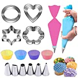 Cake Decorating Supplies Kits for Beginners with Baking Cups Pastry Piping Bags Cookie Cutters Reusable Coupler Nozzles Spatula, Kids Cookie Decorating Kit Kids Baking Sets - 26pcs