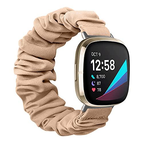 MoKo Correa Elástica para Reloj Compatible con Fitbit Versa 3 / Fitbit Sense, Reemplazo de Pulsera Ajustable Suave de Tela y Goma Elástica para Mujer Chica, L, Color Carne