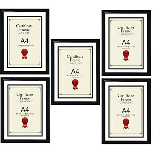 Star Online A4 Certificate Photo Picture Frame Black X 5 Frames