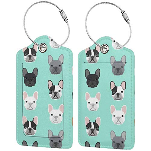 NiYoung Luggage Tag Fashion French Bulldog Sweet Dog Puppy Puppies Dog Suitcase Labels for Perfect to Quickly Spot Luggage Waterproof Name Luggage Bag Tags