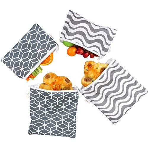 Langsprit Premium Reusable Sandwich amp Snack BagsWashable Lunch Bags  Set of 4  Grey Geometry