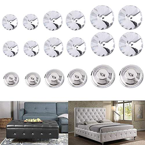 Iceyon Rhinestone Crystal Buttons Tufting Buttons Upholstery Buttons with Metal Loop Buttons for Sewing Sofa Bed Headboard DIY Crafts Decoration Clear 18mm+20mm+25mm Mixed Pack of 50