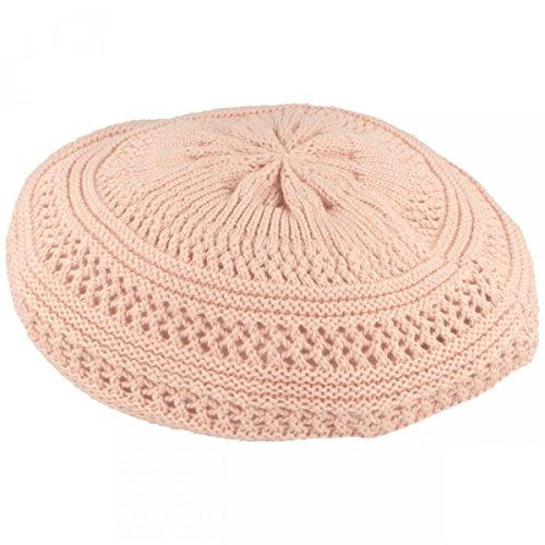 LOEVENICH Sommer Damenmütze | Baskenmütze | Strickmütze für Damen - aus 100% Baumwolle - grob gestrickt, besonders leicht & faltbar – One Size - Rosa