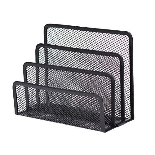 NUOBESTY Revistero de metal con organizador que ahorra espacio, organizador de mesa con 4 secciones para pared o escritorio (color negro)