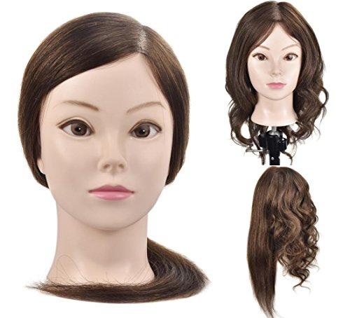 Testa di manichino con capelli umani al 100% lunghi 45,72 cm per la pratica dei parrucchieri con morsetto da tavolo