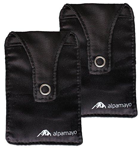 Alpamayo® BH-Tasche 2er Set, geheimer Brustbeutel für Bargeld und Wertsachen, Geldbeutel für Reise und Sport, schwarz