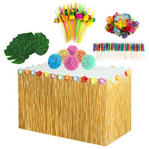 Amosfun 149pcs Hawaiian Party Tisch Rock Set withTable Monstera Blatt Papier Sonnenschirme Obst Stroh Hibiskus Blume