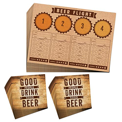 Beer Flight Set Tasting Notes Placemats & Napkins for 24 - Home Brewing Party Supplies