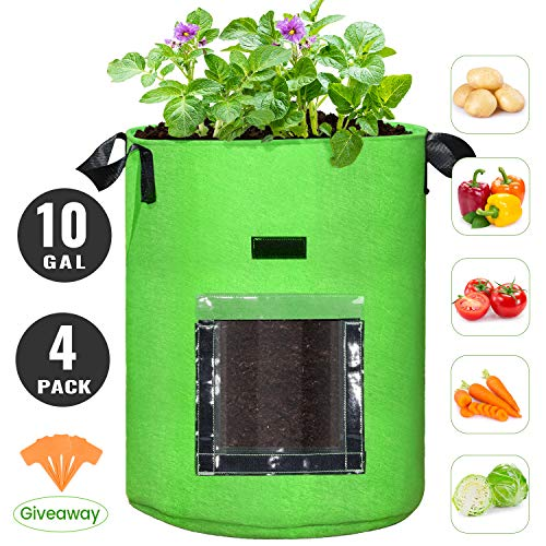 10 Gallon Potato Grow Bags, 4 Pack, Two-sides Velcro Window Garden Planting bag with Durable Handle, Thickened Nonwoven Fabric Pots Vegetable Grow Bags for Tomato, Carrot, Onion, Fruits, Flower(Green)