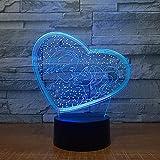 2018, luci 3D a 7 colori per San Valentino, regalo di San Valentino, luce notturna a LED, interruttore tattile, ottima idea regalo per le vacanze