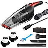 Car Vacuum, Solpuo Portable Handheld Powerful Suction Handheld Car Vacuum Cleaner with 16.4 Feet Power Cord, 2 HEPA Filters, Carry Bag, Suitable for Cleaning Car Interior - Red