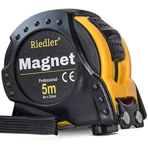 Riedler Maßband 5m mit magnetischer Spitze, Stopp Taste und einrastender Funktion. Robuste Bauweise mit hoher Qualität